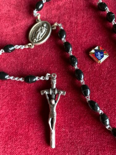 Knights of Columbus First Degree Pin and Rosary w/ Guadalupe Made in Italy NEW