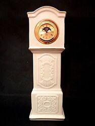 Lenox Patriarch Clock Ivory Gold Grandfather QUARTZ Mantle Table 8.5H X 2 3/4