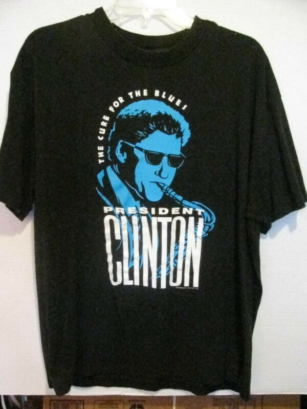 1992 President Bill Clinton XL tshirt Sold for Inauguration Cure for the Blues