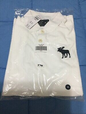 Abercrombie & Fitch, Mens Exploded Icon Stretch Polo, M, WHITE, FREE S/P, (J74)