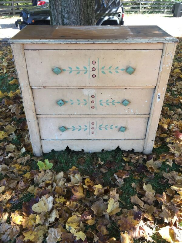 Antique Painted Chest Dresser Farmhouse Boho Primitive