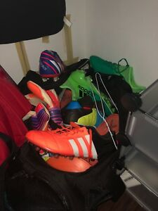 Bunch of soccer gear on sale, shoes golves ect