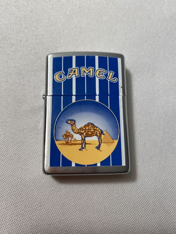 New -VTG 1999 CAMEL ZIPPO XIV BLUE STRIPES PYRAMIDS BRUSHED CHROME lighter