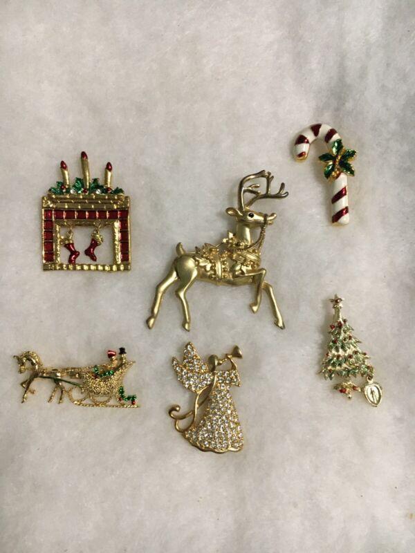 Christmas Pin Lot X 6 Used