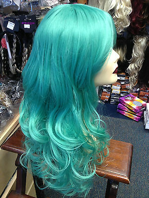 BEAUTIFUL LUXURIOUS LONG THICK UNISEX WIG FITS ALL Jade Green
