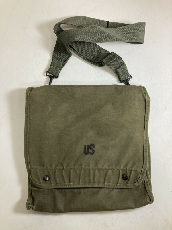 Vintage Genuine US Army Military Green Canvas Map Case and Photograph Sling Bag