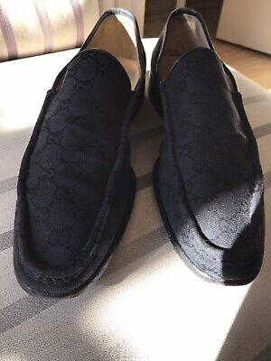 Gucci Vintage Loafers Black Men's ALL OVER PRINT Monogrammed GG UK 11 EU 45 +bag