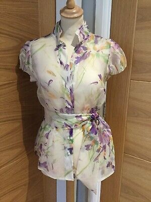 ZARA Size M(10/12) Gorgeous Sheer 100% Silk Chiffon Floral Blouse for sale  Shipping to Ireland