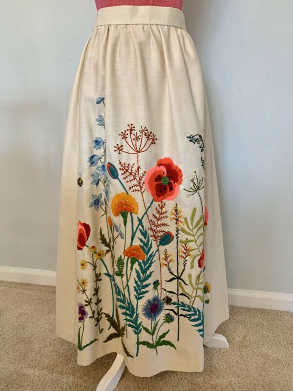 Incredible Hand-Embroidered Mid Century Skirt