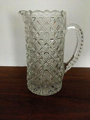 Antique American Brilliant Cut Glass Water Pitcher 32 oz