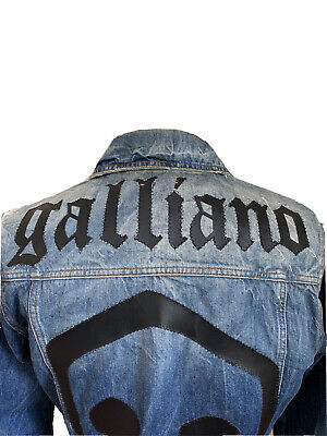 """VINTAGE UNIQUE JOHN GALLIANO SPELL OUT EMBROIDERED DENIM JACKET EURO 48 / UK 38"""""""