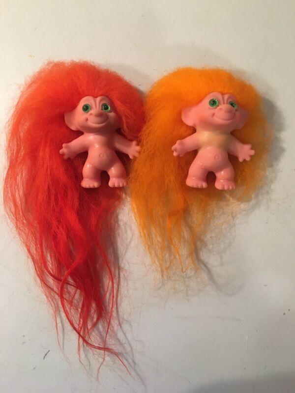 Vintage 2 Pink Skin Long Hair Spiral Eyes Troll Dolls