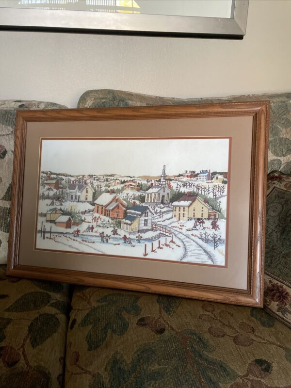 Framed Completed Counted Cross Stitch Christmas Winter Village Scene