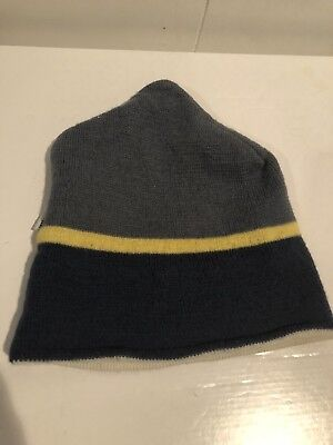 WIGWAM Winter Ski HAT Beanie  Blue Yellow Stripe 100% Wool Blue Stripe Wool Hat