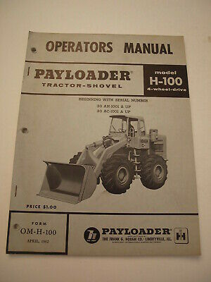 Ih International Hough H-100 Front-end Wheel Pay Loader Tractor Operators Manual