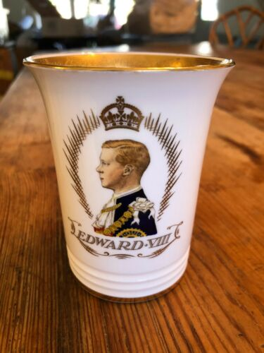 KING EDWARD VIII 1937 CORONATION COMMEMORATIVE BEAKER LMT ED MINTONS #1757/#2000