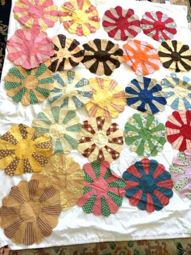 Vintage Hand Stitched Dresden Plates Patchwork Lot 24 1940