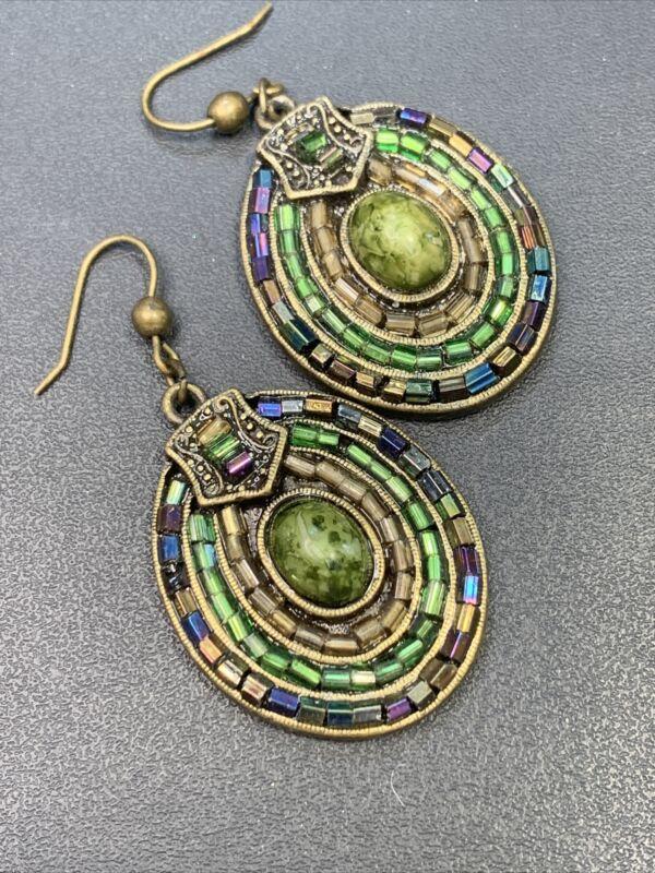Pierced earrings Multi Color Brass tone Boho  Micro Beaded AB Drop Dangle