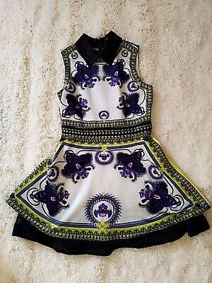 Korean Fashion Panther Orchid Print Skater Dress UK8