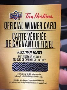 Tim Hortons Johnathan Toews Relic Redemption Winner