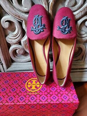 Tory Burch ANTONIA LOAFER - Monogram Embroidery Burgundy Size 6  (New)