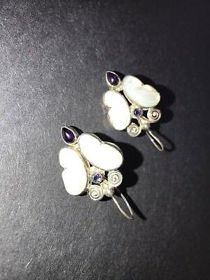 Beautiful Sajan Carved Mother Pearl Amethyst Sterling Silver Butterfly Earrings
