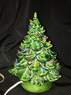 VINTAGE CERAMIC LIGHTED CHRISTMAS TREE WITH BASE - 8