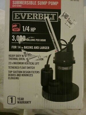 Sump Pump Submersible Aluminum 14 Hp With Tethered Float Switch By Everbilt