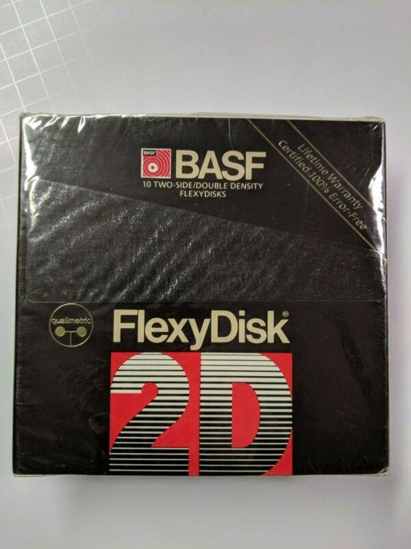 "Pack of 10 Blank 5.25"" Floppy Disks, BASF Qualimetric FlexyDisk, DS/DD, Sealed"