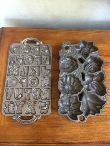 John Wright Cast Iron Lot of 2 Pans Flowers & Alphabet Muffins Cookies Molds USA