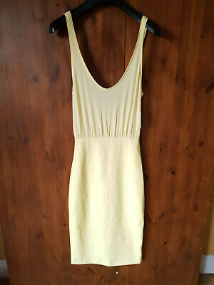 ZARA MIDI DRESS Lemon Yellow Summer Faux Leather XS S M L / UK 8 10 12 14 - NEW