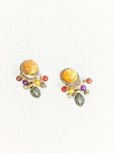 Vintage Gold Tone Tribal Style Colorful Cabochon Dangle Clip On Earrings