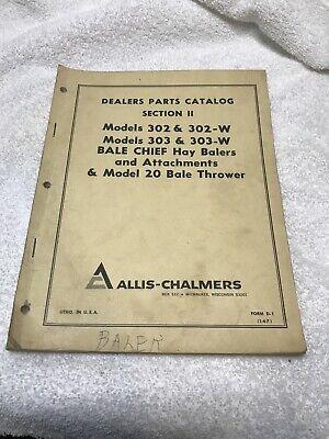Allis-chalmers Bale Chief Baler 302-w 303-w Model 20 Dealer Parts Catalog Manual