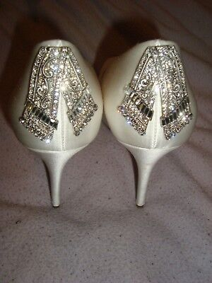 JL by JUDITH LEIBER UK 7.5 EU 42 US 10 WHITE SILK  shoes RRP £195.00