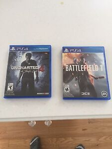 Battlefield 1 and uncharted 4 for ps4