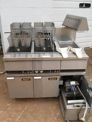 Used Anets 14el-17aa 100 Lb Elec. Fryer With Filtration Food Warming Station