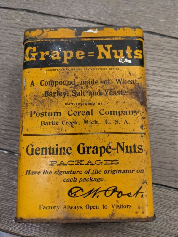 Vintage Tin Grape Nuts Tin Early 1900's Refillable 100% Original