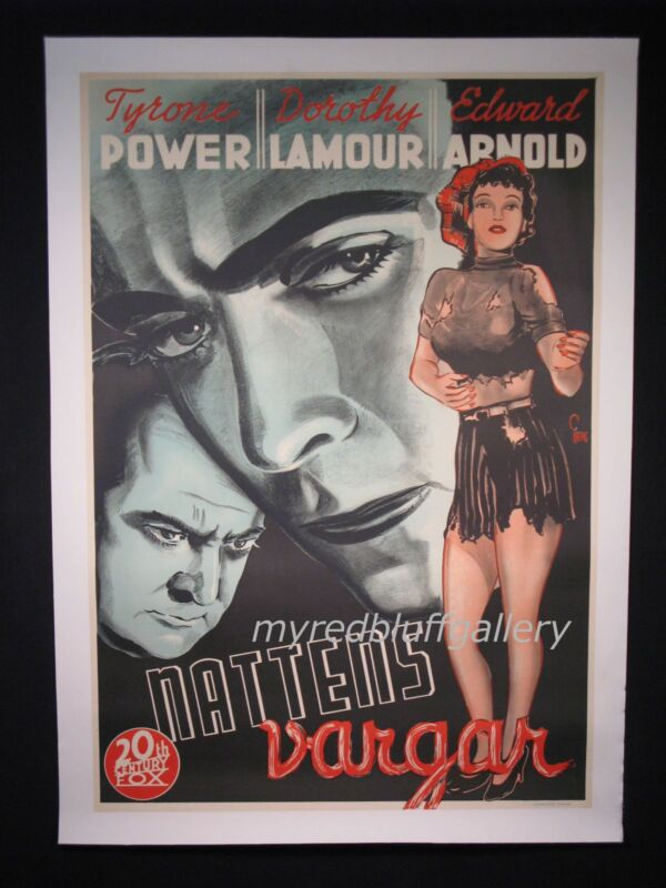 Johnny Apollo 1940 Tyrone Powers and Dorothy Lamour  Poster Art by Gosta Aberg