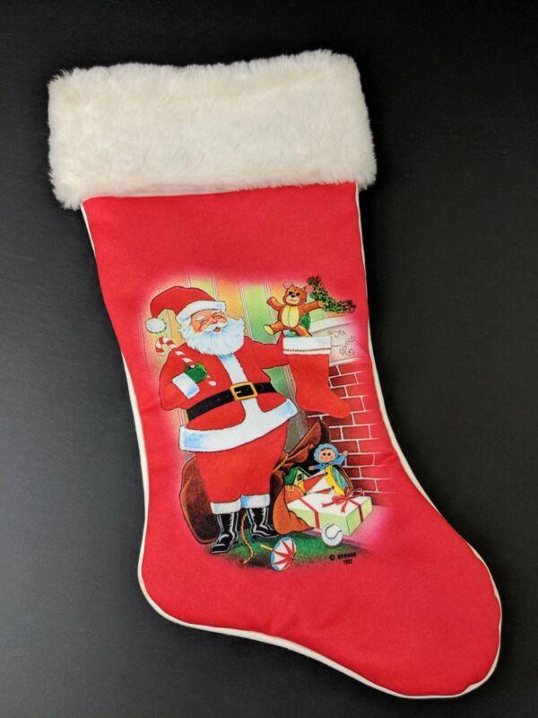 Vintage Christmas Stocking FREE SHIPPING Rennoc 1982 Santa Elve Ms Claus Sleigh