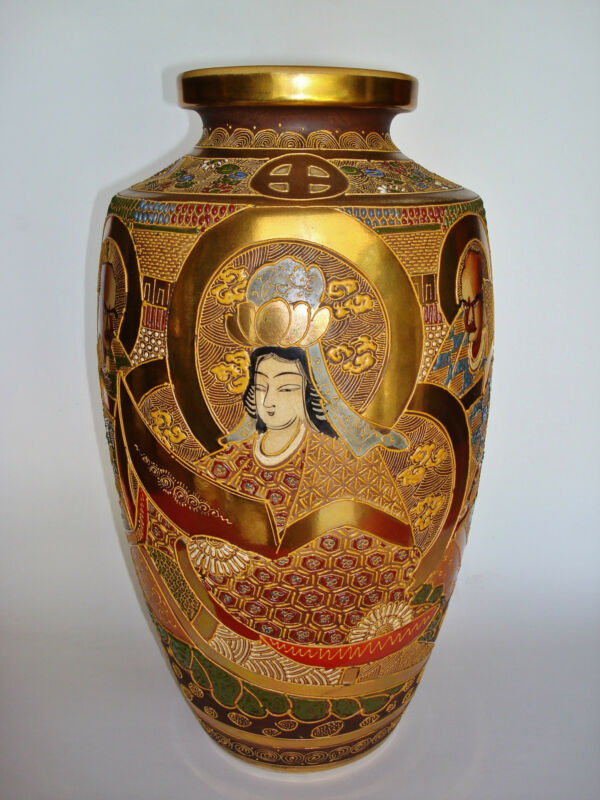 "Large 14.5"" GYOKUZAN Marked, MEIJI PERIOD Glazed & Gilded JAPANESE SATSUMA Vase"