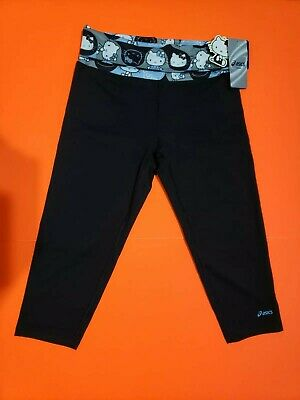Asics Hello Kitty Workout Capris Yoga Pants Black Blue White NWT- XS, S, M, L
