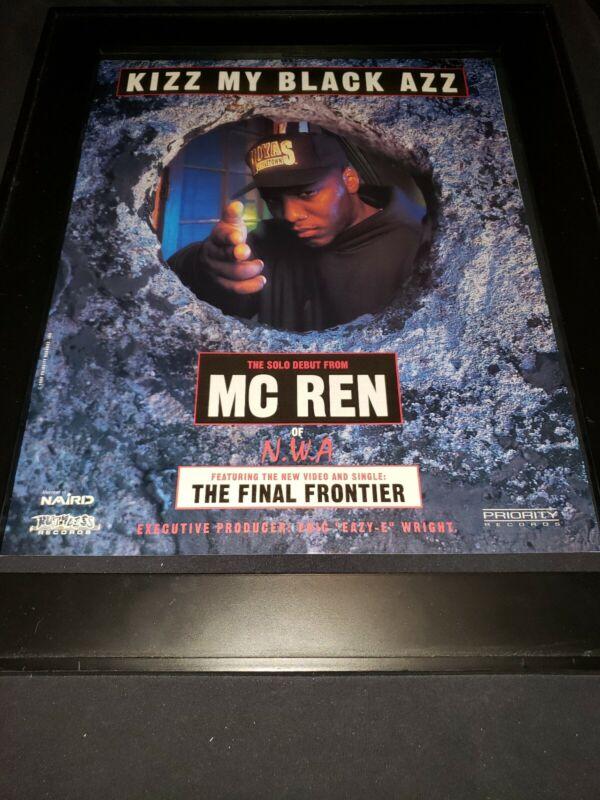 MC REN NWA Kizz My Black Azz Rare Original Promo Poster Ad Framed!