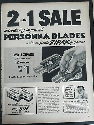 Persona Blades Zip Pack Dispenser~2 For 1 Sale~1949 Vintage Print AD A90