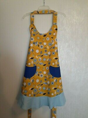NEW Size XL Yellow & Blue Kitchen Apron - PLUS Size - Hand Made in USA Blue Kitchen Apron