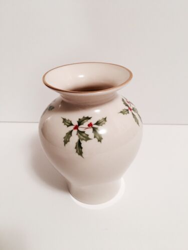Lenox Christmas Vase Flared Holly & Berries Christmas Holiday, Christmas Decor