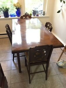 Refinished Antique Dining Room Table & Chairs
