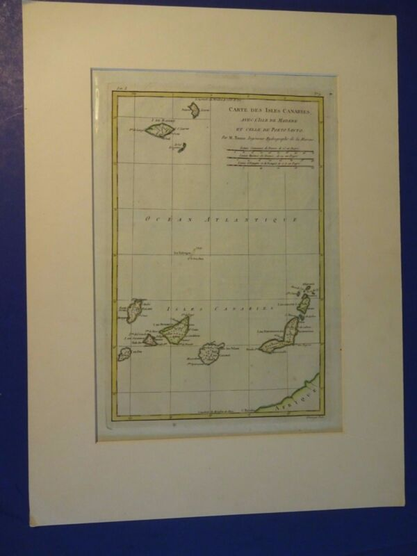 NICE,Colored Map of The Canary Islands - Rigobert Bonne (French Text)