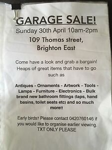 GARAGE SALE Brighton East Bayside Area Preview
