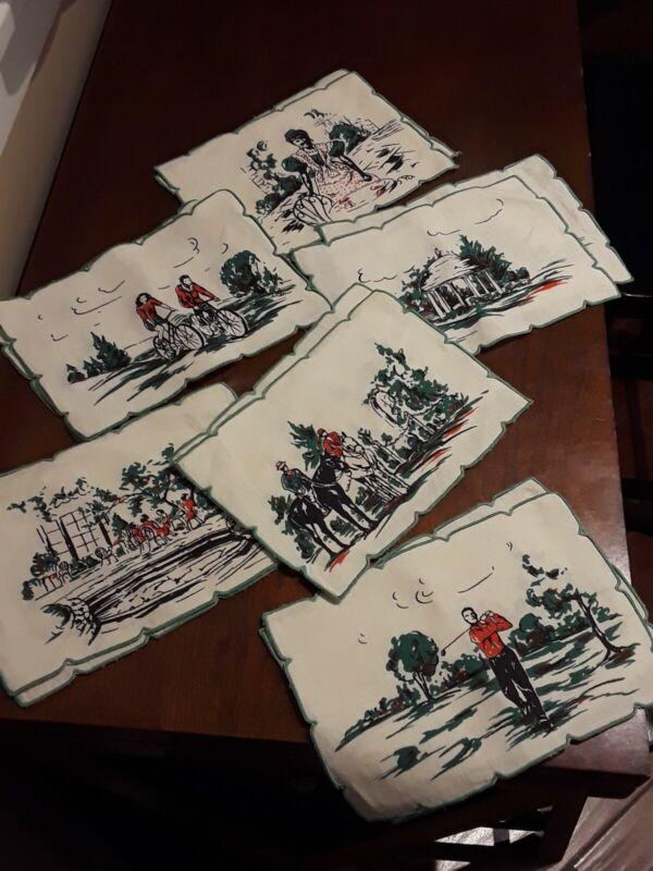 "Vintage Dorothy Draper Greenbrier Resort Hotel 7 3/4"" x 5 1/4""  12pce Napkin Set"