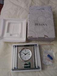 Bulova Quartz Mantel Desk Clock B2454 - Silver and Glass-Personalized for office